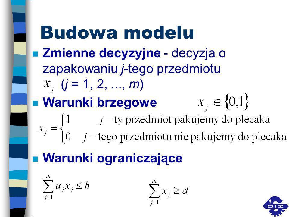 Budowa modeluZmienne decyzyjne - decyzja o zapakowaniu j-tego przedmiotu (j = 1, 2, ..., m) Warunki brzegowe.