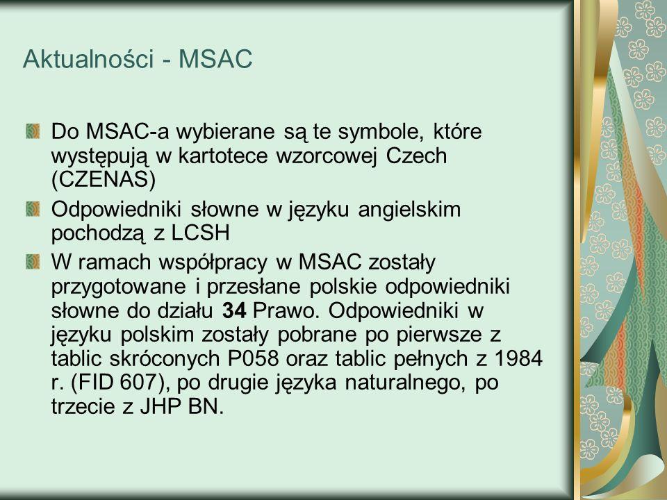 Aktualności - MSAC Do MSAC-a wybierane są te symbole, które występują w kartotece wzorcowej Czech (CZENAS)