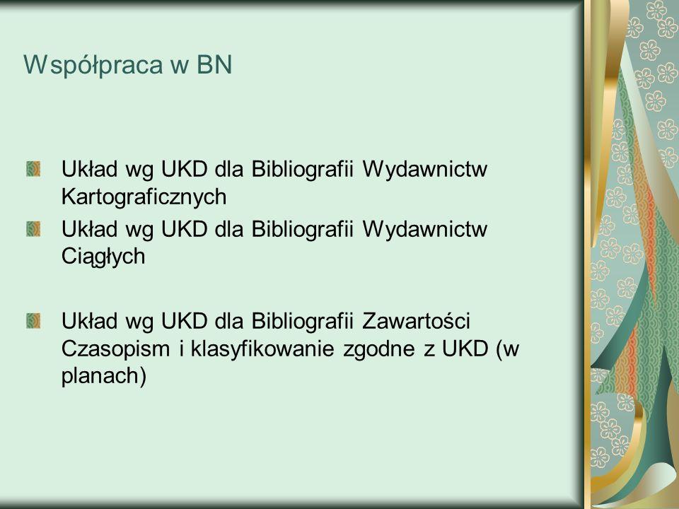 Współpraca w BN Układ wg UKD dla Bibliografii Wydawnictw Kartograficznych. Układ wg UKD dla Bibliografii Wydawnictw Ciągłych.