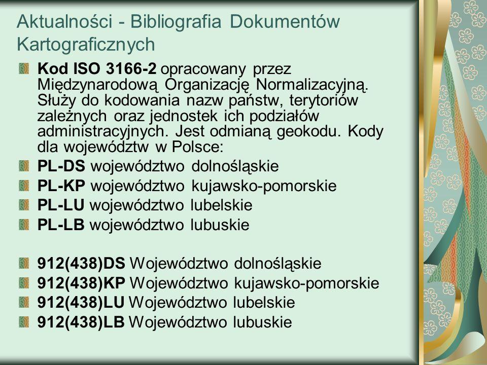 Aktualności - Bibliografia Dokumentów Kartograficznych