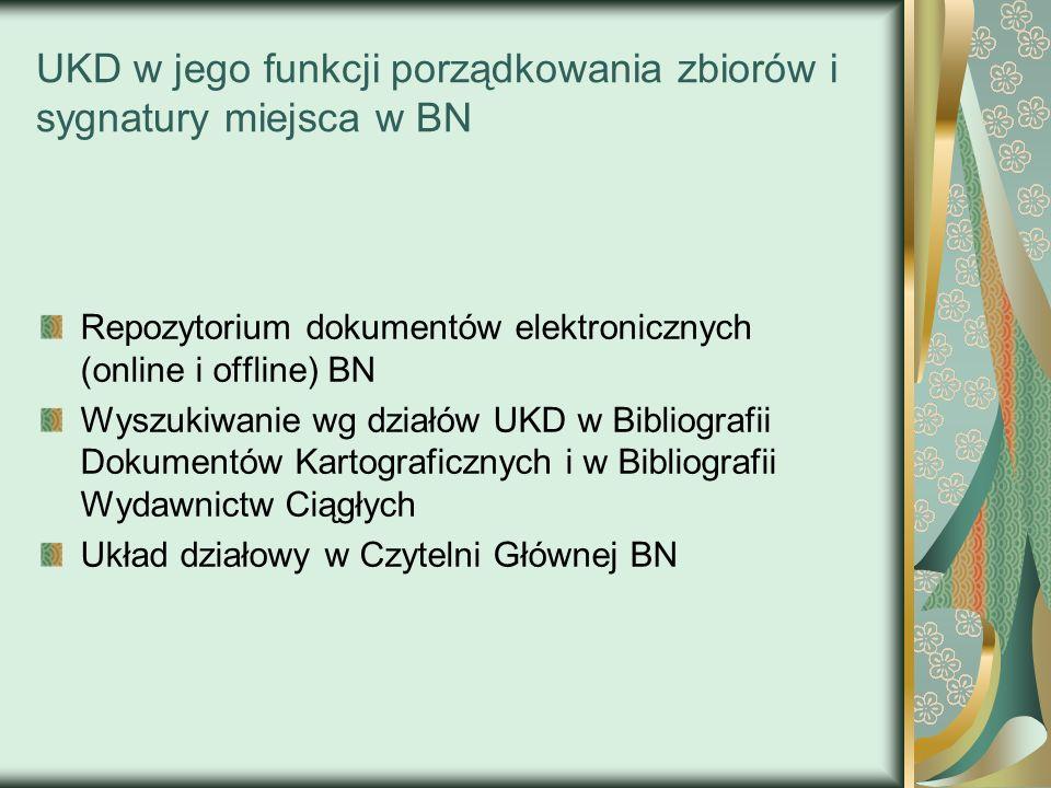 UKD w jego funkcji porządkowania zbiorów i sygnatury miejsca w BN