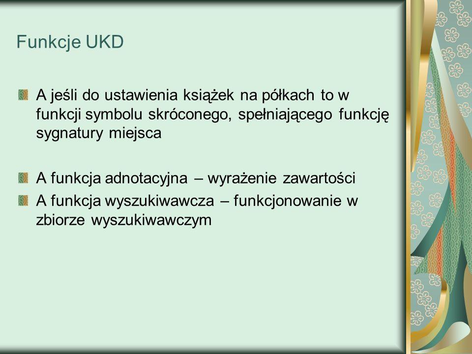 Funkcje UKD A jeśli do ustawienia książek na półkach to w funkcji symbolu skróconego, spełniającego funkcję sygnatury miejsca.