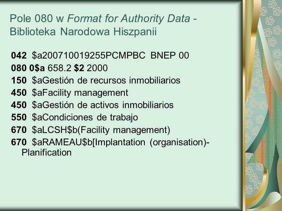 Pole 080 w Format for Authority Data - Biblioteka Narodowa Hiszpanii