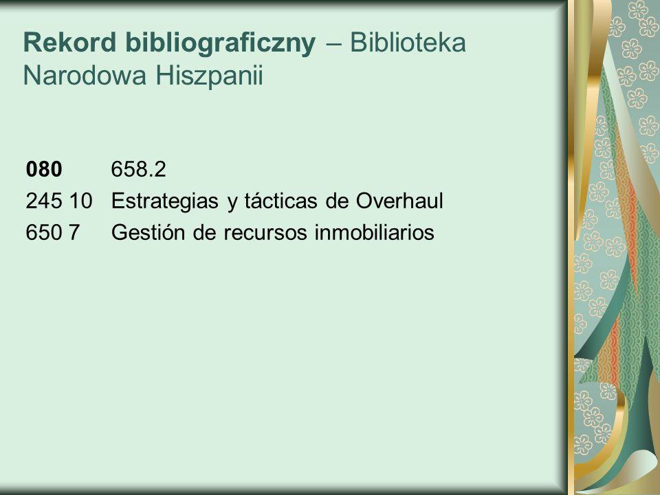 Rekord bibliograficzny – Biblioteka Narodowa Hiszpanii