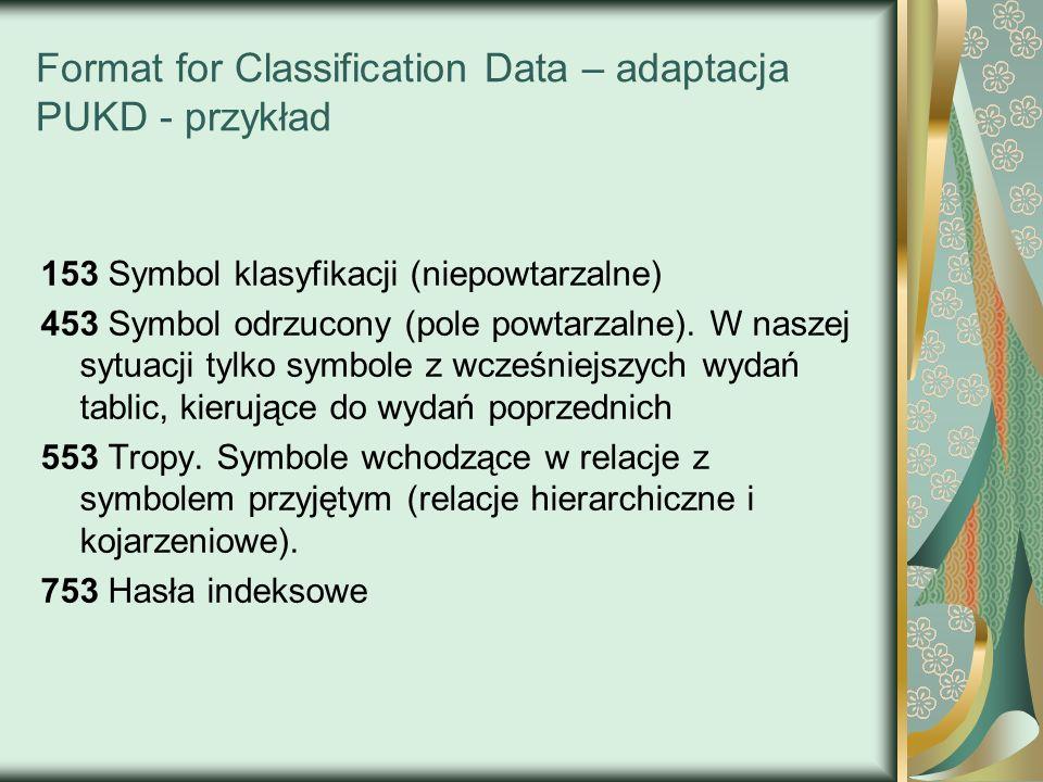 Format for Classification Data – adaptacja PUKD - przykład