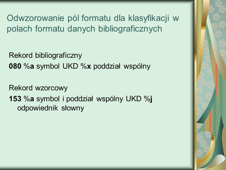 Odwzorowanie pól formatu dla klasyfikacji w polach formatu danych bibliograficznych