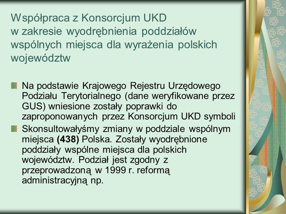 Współpraca z Konsorcjum UKD w zakresie wyodrębnienia poddziałów wspólnych miejsca dla wyrażenia polskich województw
