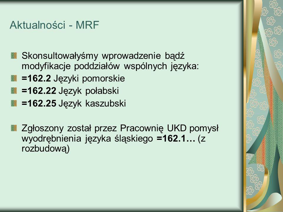 Aktualności - MRFSkonsultowałyśmy wprowadzenie bądź modyfikacje poddziałów wspólnych języka: =162.2 Języki pomorskie.
