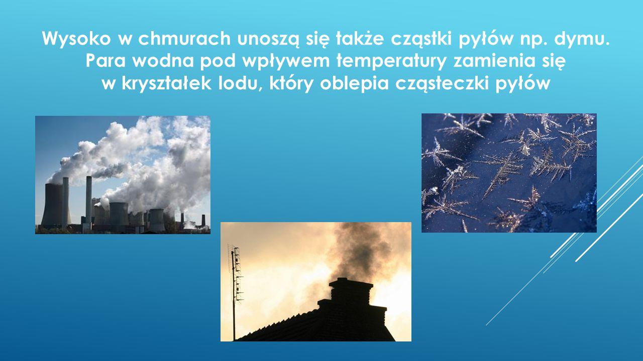 Wysoko w chmurach unoszą się także cząstki pyłów np. dymu
