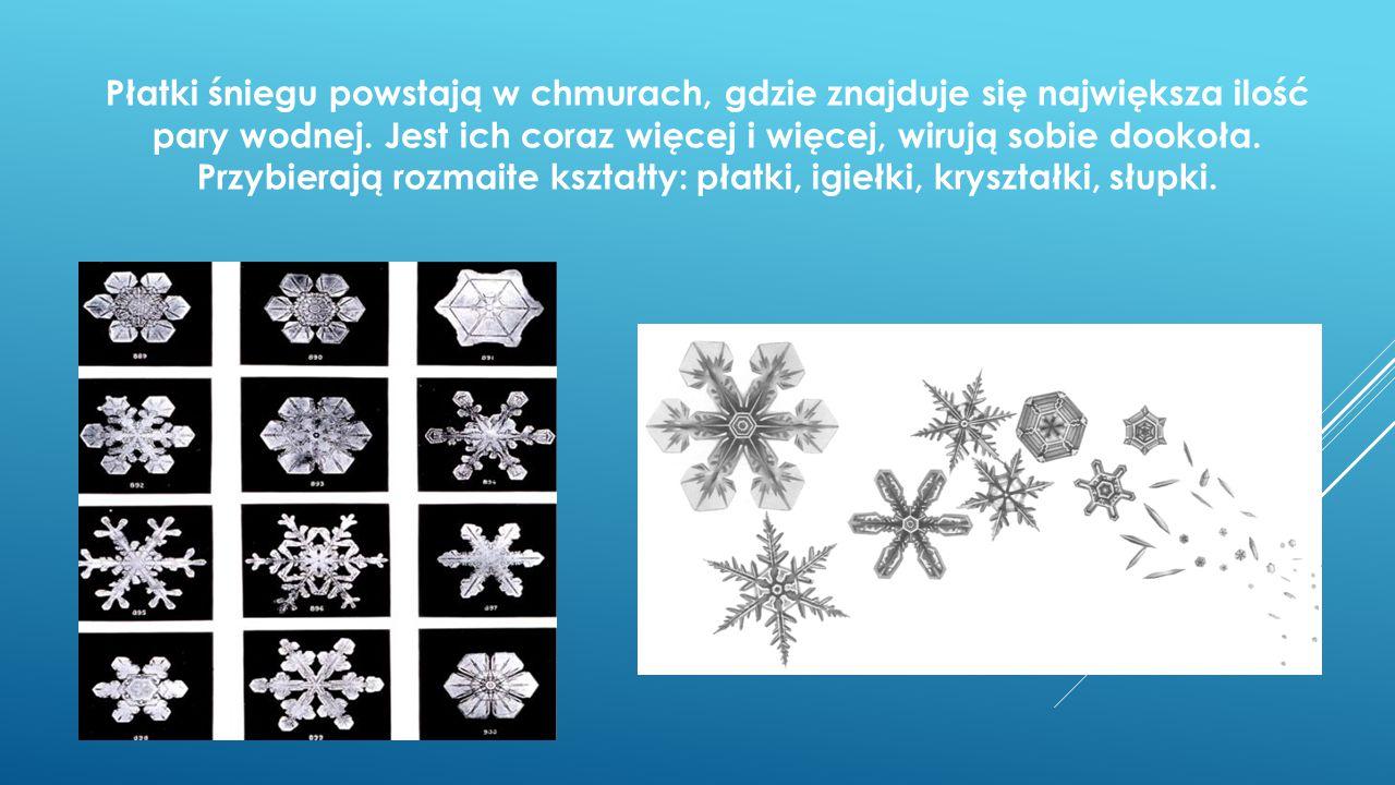 Płatki śniegu powstają w chmurach, gdzie znajduje się największa ilość pary wodnej.