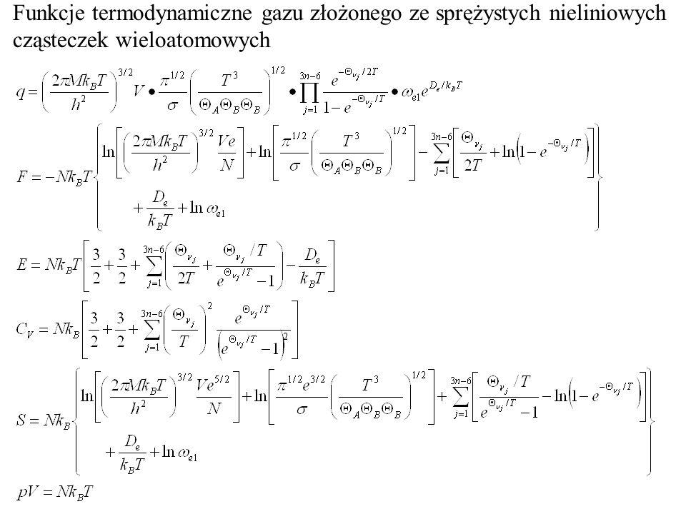 Funkcje termodynamiczne gazu złożonego ze sprężystych nieliniowych cząsteczek wieloatomowych