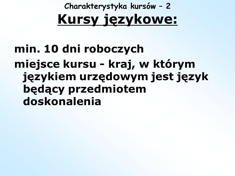 Charakterystyka kursów – 2 Kursy językowe:
