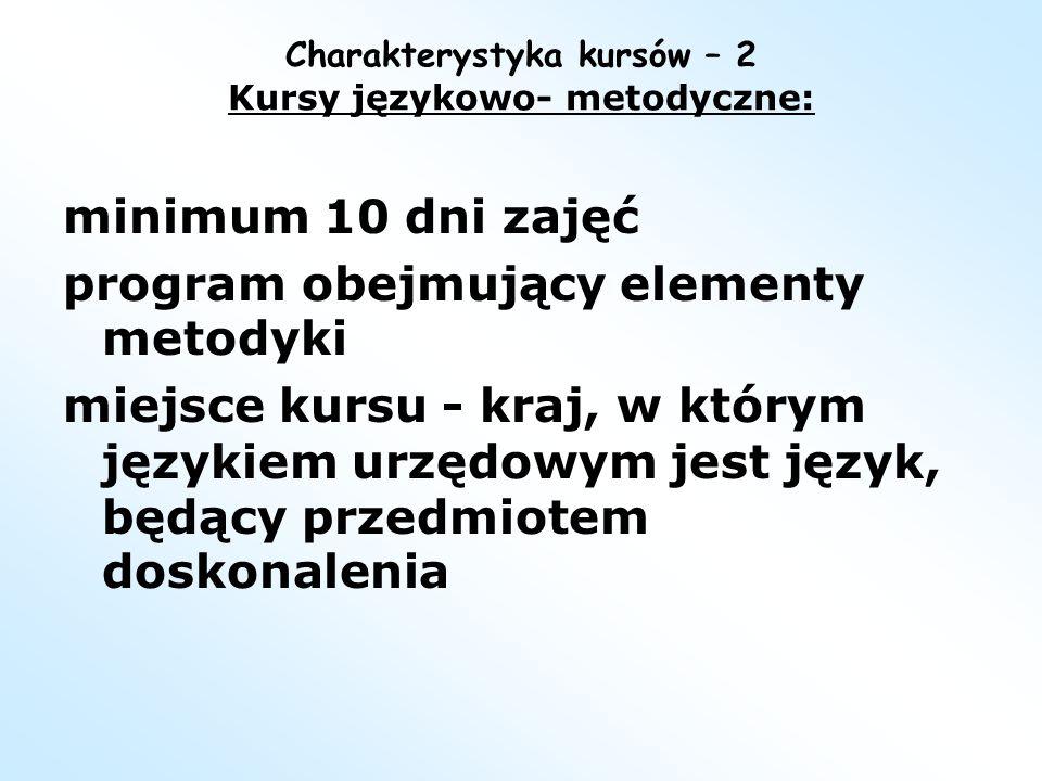 Charakterystyka kursów – 2 Kursy językowo- metodyczne: