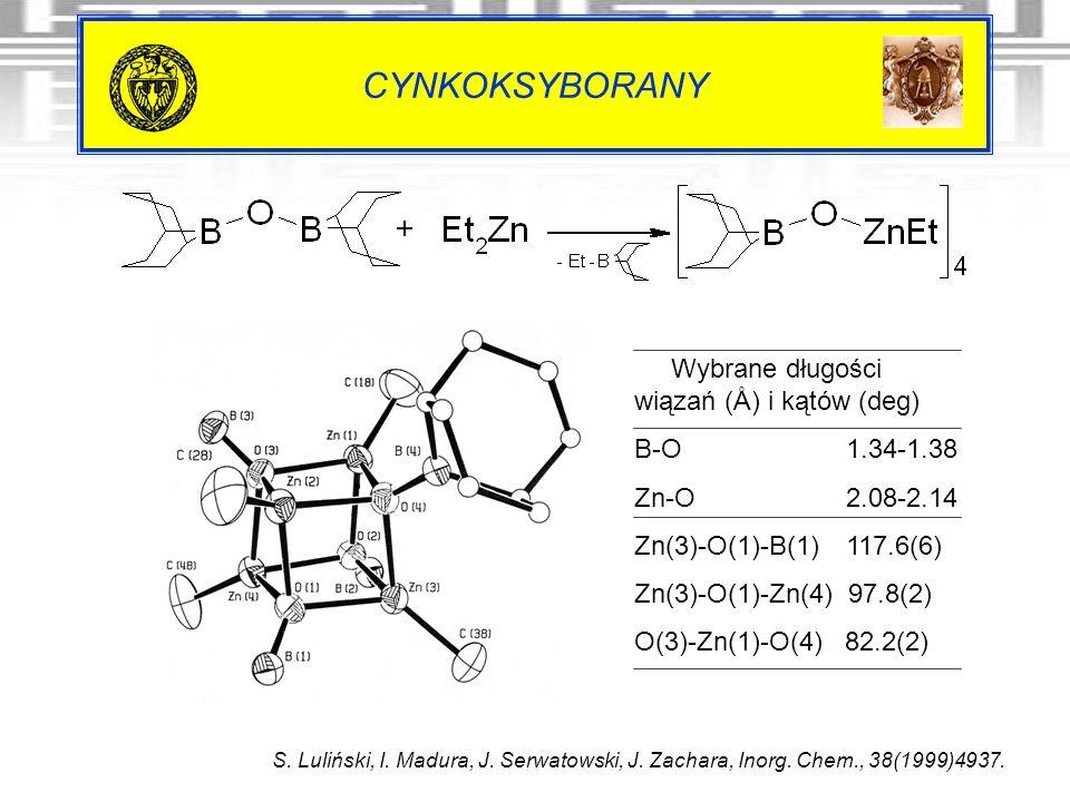 CYNKOKSYBORANY Wybrane długości wiązań (Å) i kątów (deg) B-O 1.34-1.38