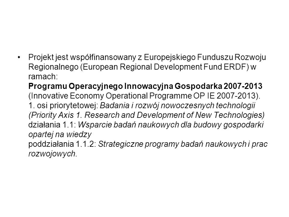 Projekt jest współfinansowany z Europejskiego Funduszu Rozwoju Regionalnego (European Regional Development Fund ERDF) w ramach: Programu Operacyjnego Innowacyjna Gospodarka 2007-2013 (Innovative Economy Operational Programme OP IE 2007-2013).