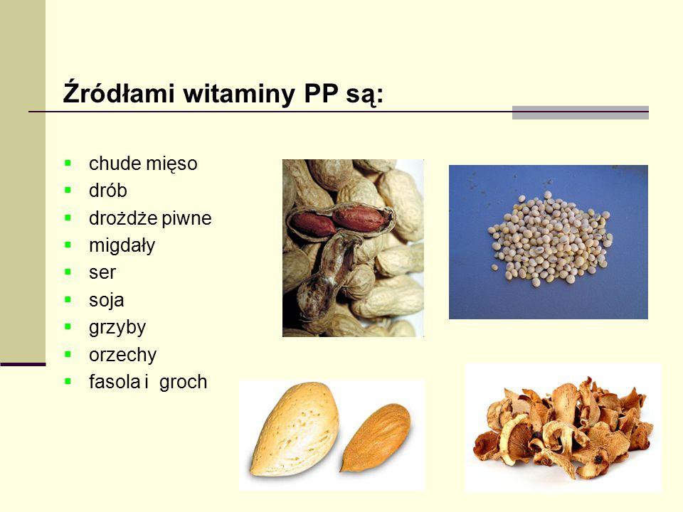 Źródłami witaminy PP są: