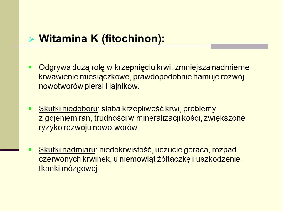 Witamina K (fitochinon):
