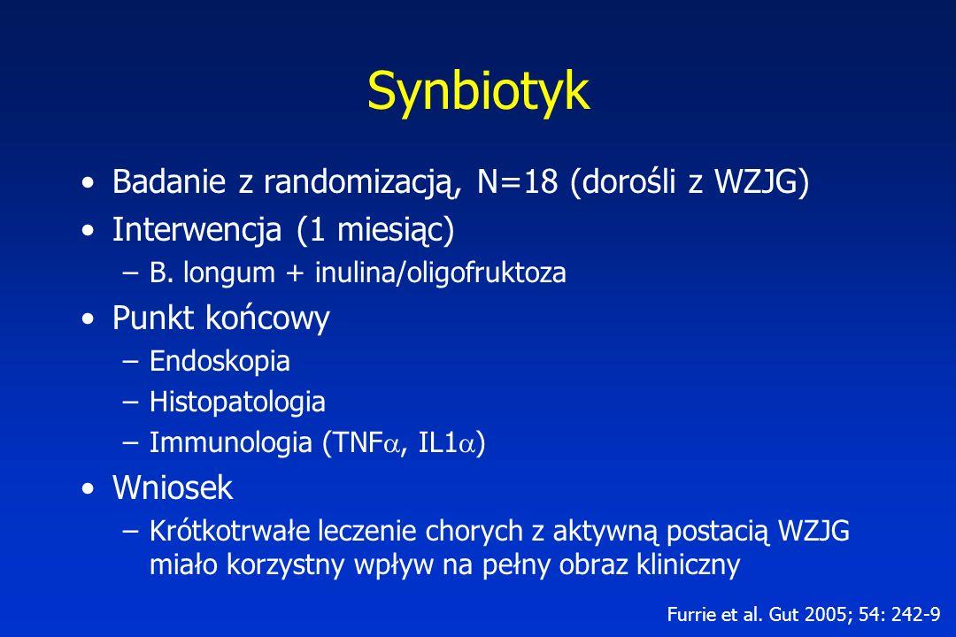 Synbiotyk Badanie z randomizacją, N=18 (dorośli z WZJG)