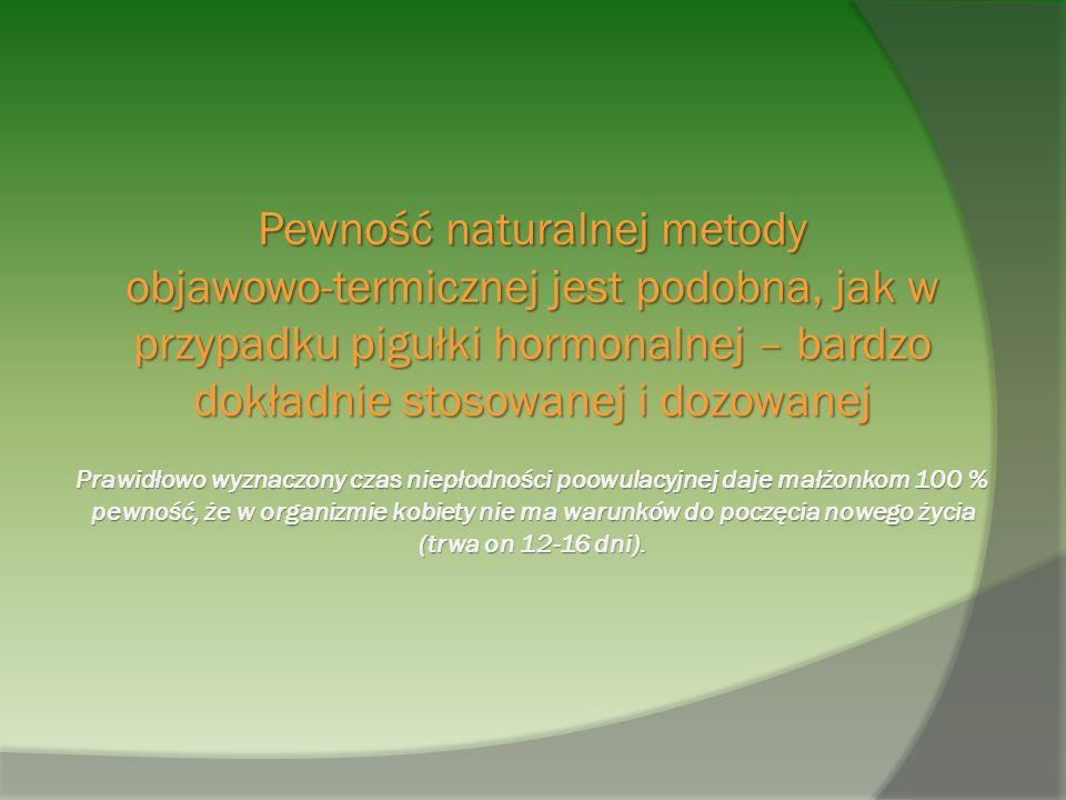 Pewność naturalnej metody objawowo-termicznej jest podobna, jak w przypadku pigułki hormonalnej – bardzo dokładnie stosowanej i dozowanej Prawidłowo wyznaczony czas niepłodności poowulacyjnej daje małżonkom 100 % pewność, że w organizmie kobiety nie ma warunków do poczęcia nowego życia (trwa on 12-16 dni).