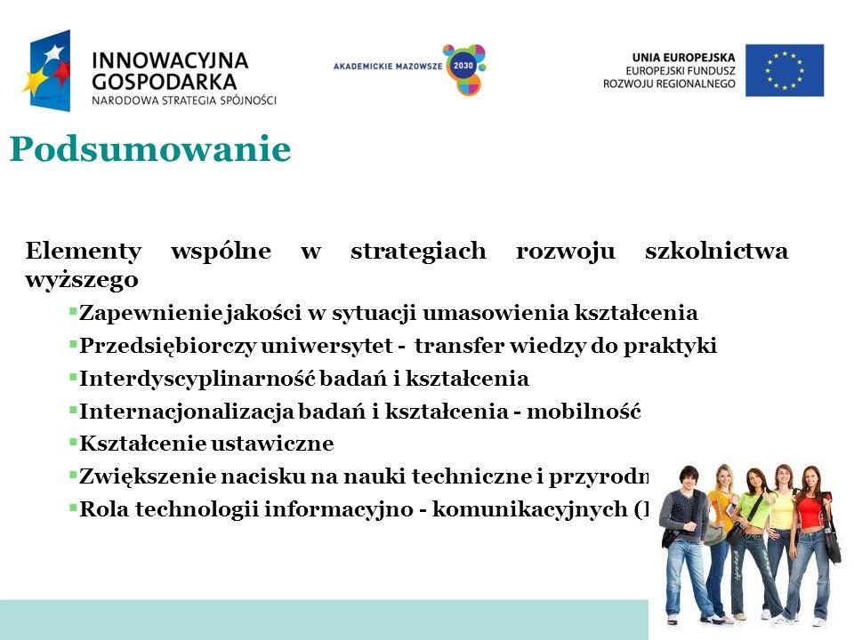 Podsumowanie Elementy wspólne w strategiach rozwoju szkolnictwa wyższego. Zapewnienie jakości w sytuacji umasowienia kształcenia.