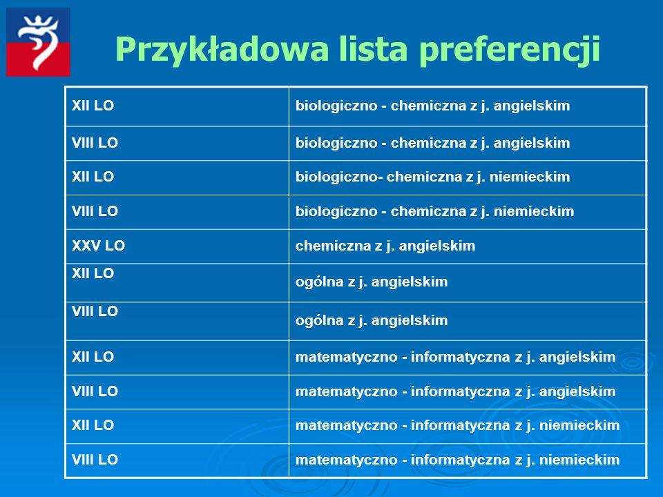Przykładowa lista preferencji