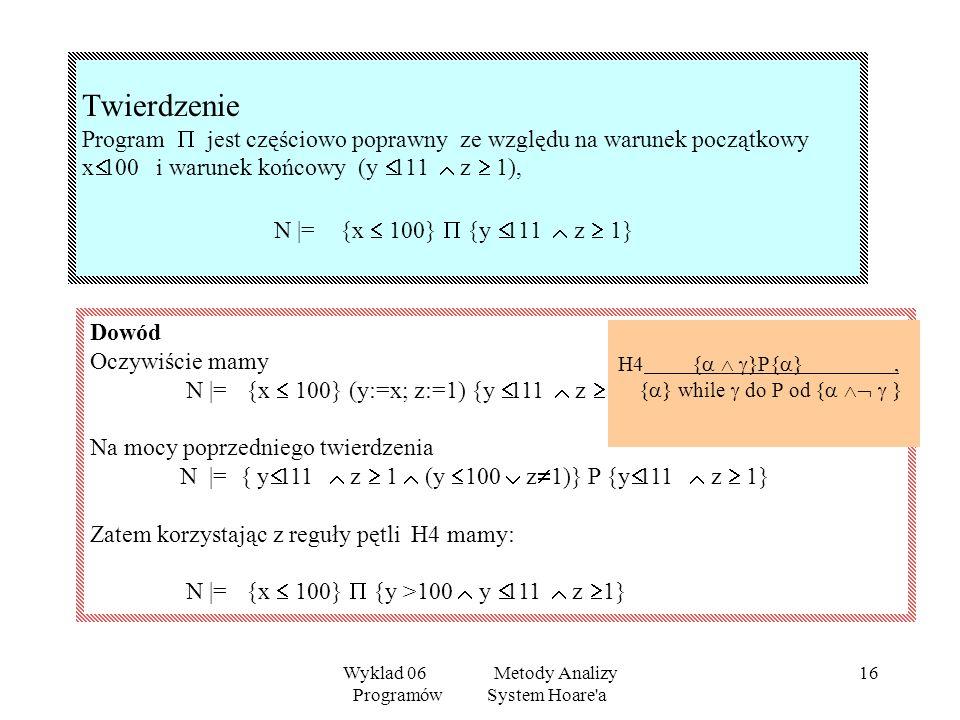 Wyklad 06 Metody Analizy Programów System Hoare a