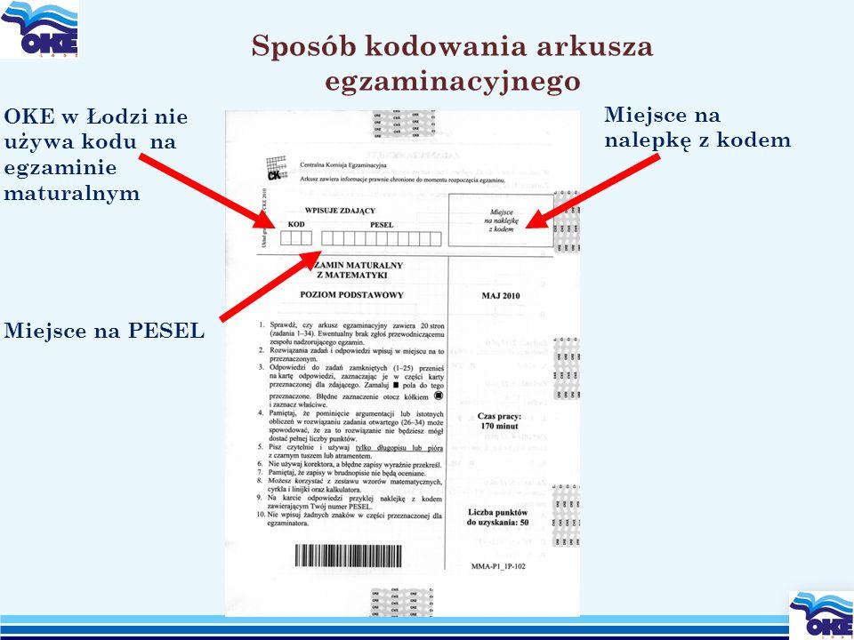 Sposób kodowania arkusza egzaminacyjnego