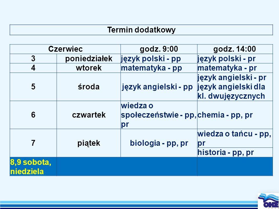 Termin dodatkowyCzerwiec. godz. 9:00. godz. 14:00. 3. poniedziałek. język polski - pp. język polski - pr.