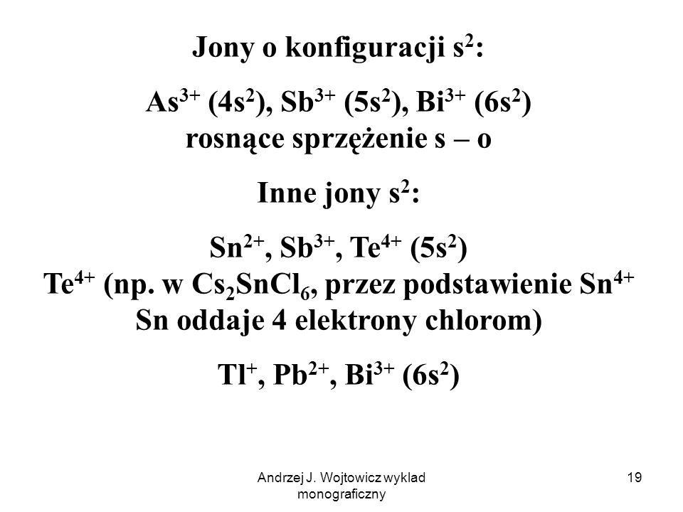 As3+ (4s2), Sb3+ (5s2), Bi3+ (6s2) rosnące sprzężenie s – o