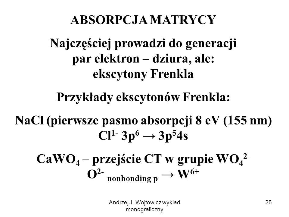 Przykłady ekscytonów Frenkla: