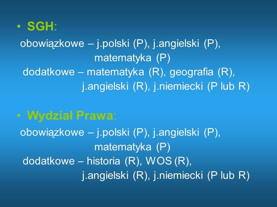 obowiązkowe – j.polski (P), j.angielski (P),