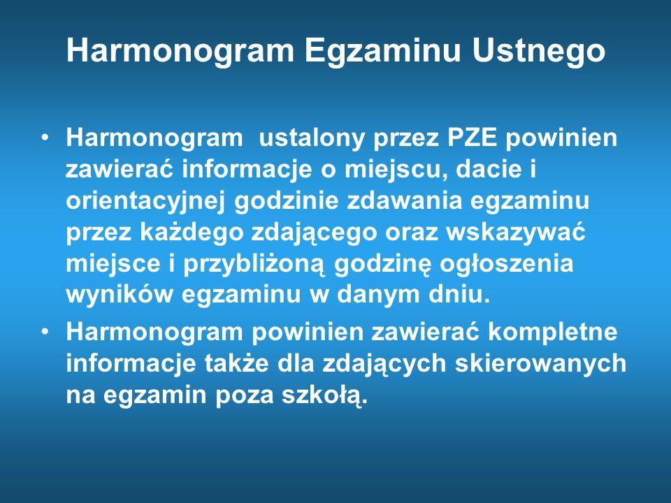 Harmonogram Egzaminu Ustnego