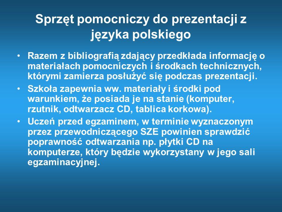Sprzęt pomocniczy do prezentacji z języka polskiego