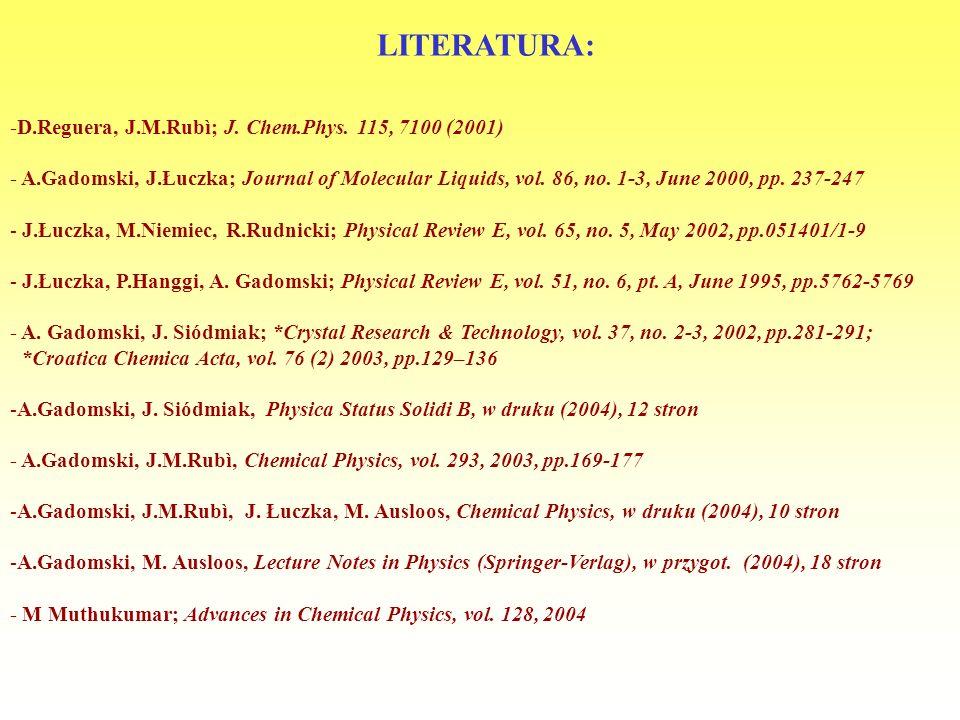 LITERATURA: -D.Reguera, J.M.Rubì; J. Chem.Phys. 115, 7100 (2001)