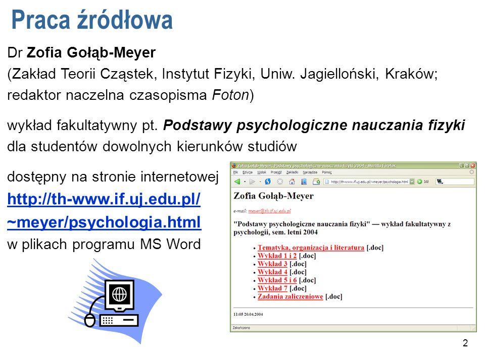 Praca źródłowa Dr Zofia Gołąb-Meyer (Zakład Teorii Cząstek, Instytut Fizyki, Uniw. Jagielloński, Kraków; redaktor naczelna czasopisma Foton)