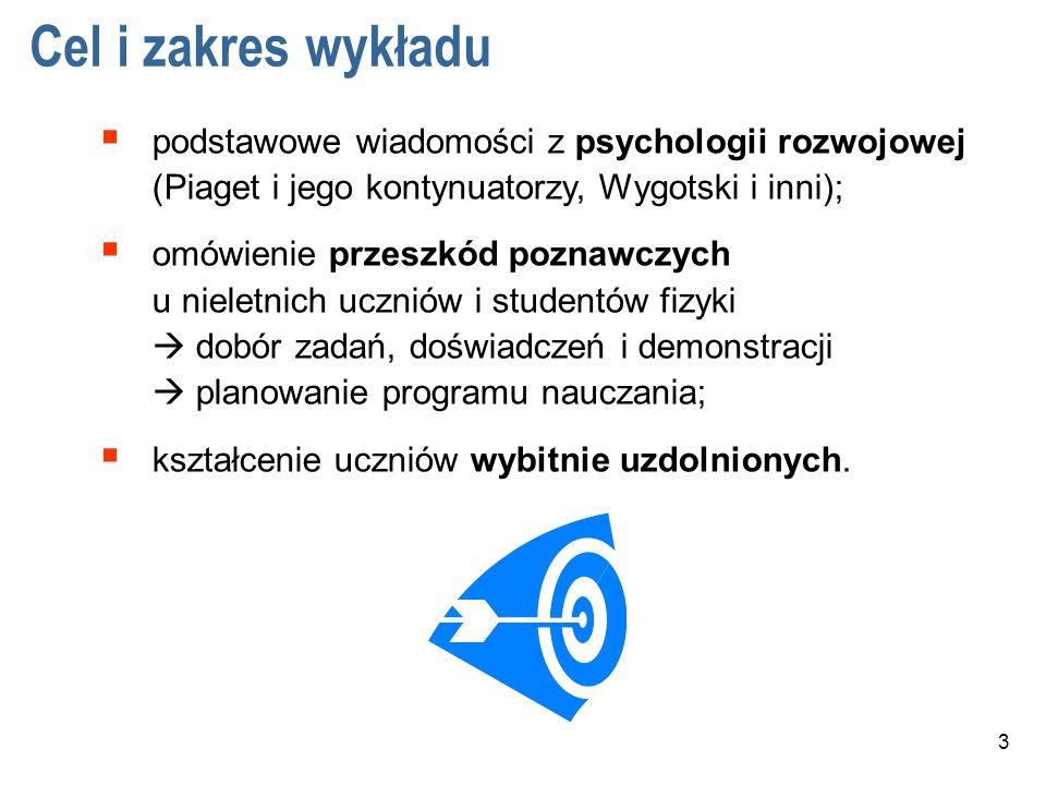 Cel i zakres wykładu podstawowe wiadomości z psychologii rozwojowej (Piaget i jego kontynuatorzy, Wygotski i inni);