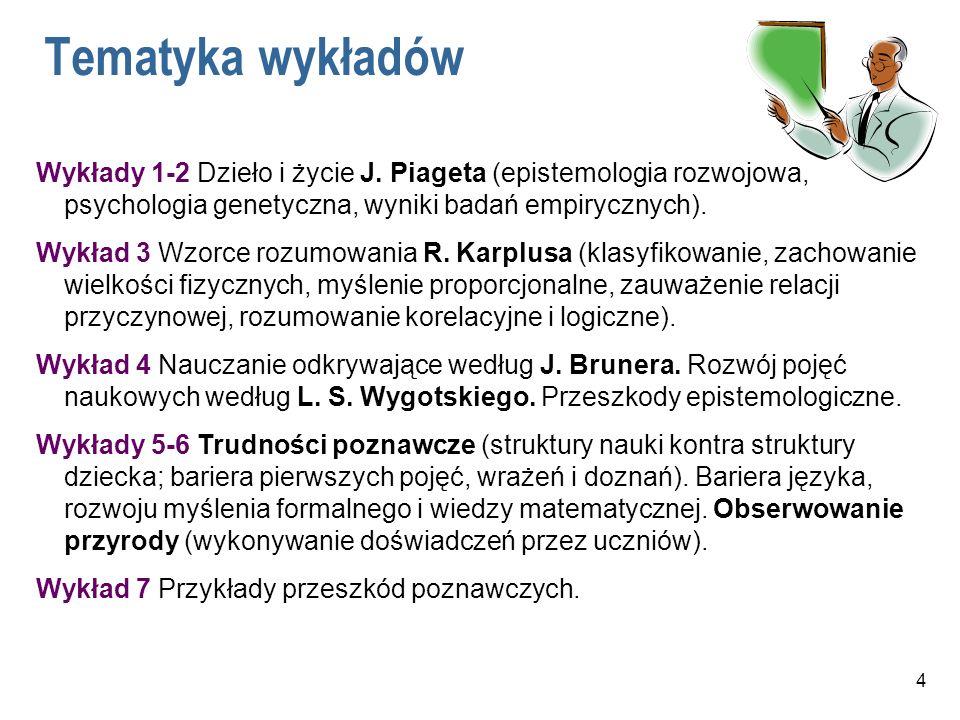 Tematyka wykładów Wykłady 1-2 Dzieło i życie J. Piageta (epistemologia rozwojowa, psychologia genetyczna, wyniki badań empirycznych).