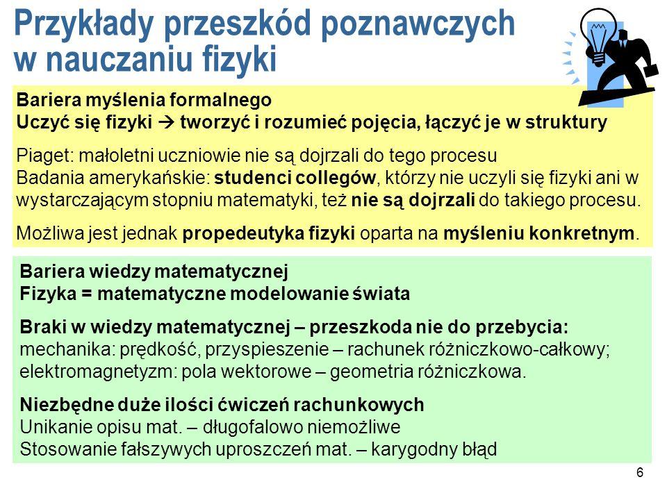 Przykłady przeszkód poznawczych w nauczaniu fizyki