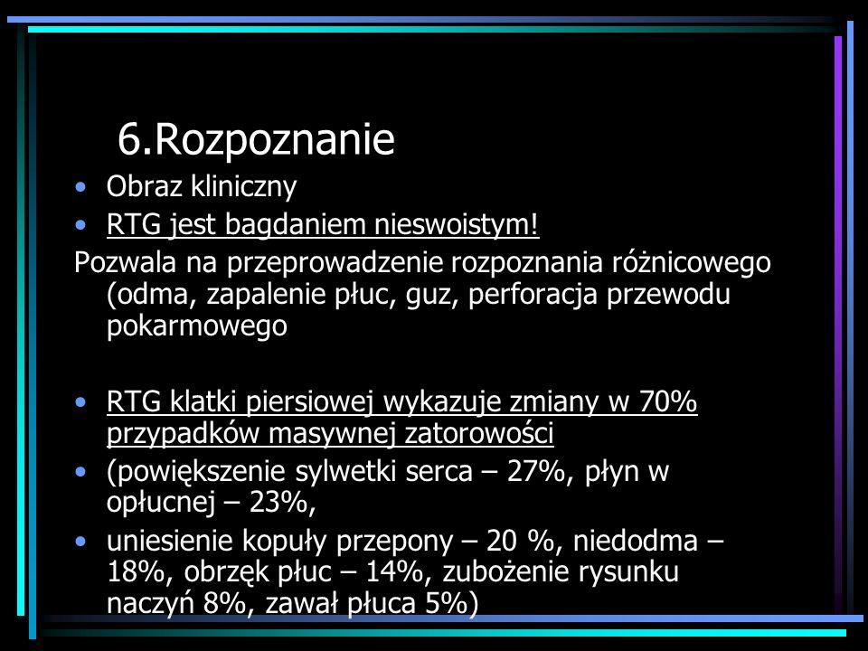 6.Rozpoznanie Obraz kliniczny RTG jest bagdaniem nieswoistym!