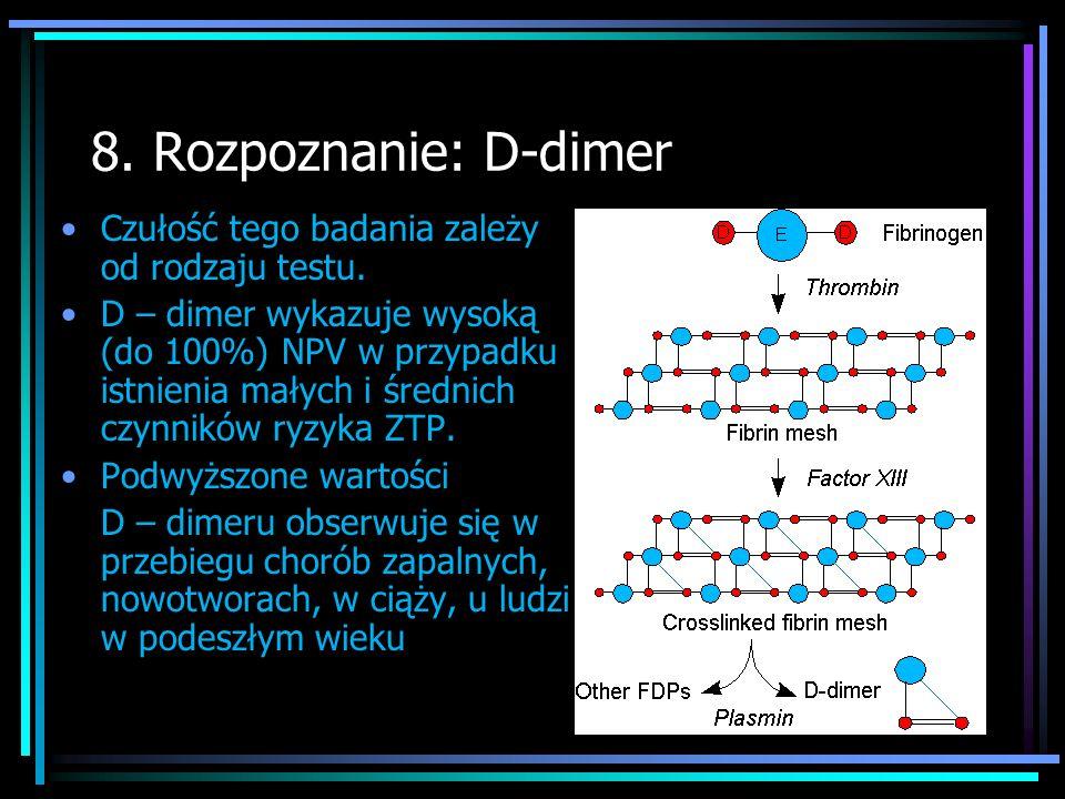 8. Rozpoznanie: D-dimer Czułość tego badania zależy od rodzaju testu.
