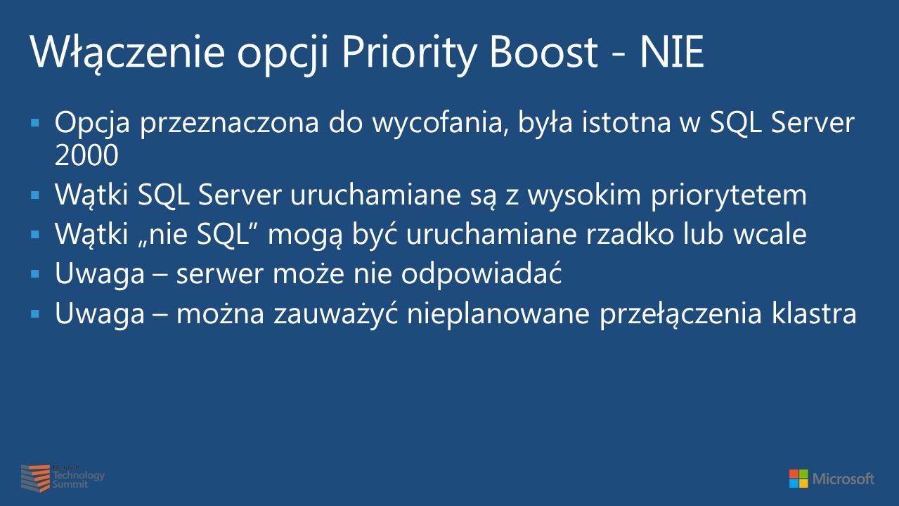 Włączenie opcji Priority Boost - NIE