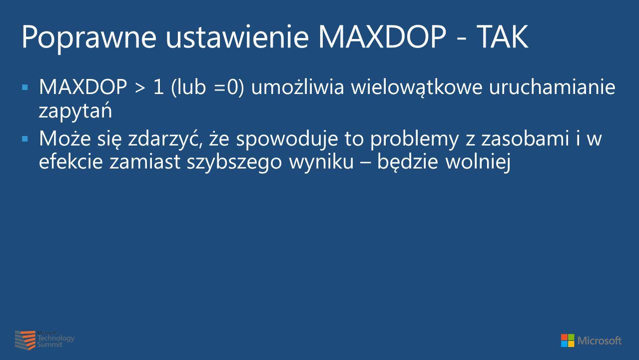 Poprawne ustawienie MAXDOP - TAK
