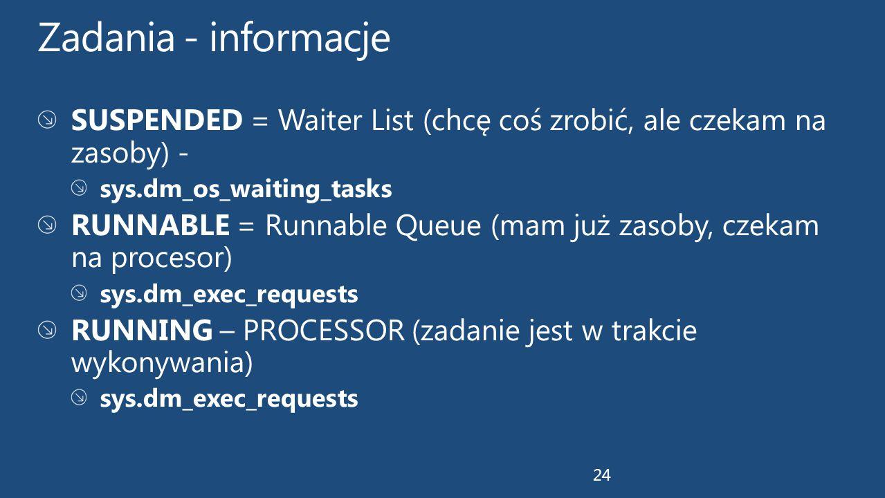 Zadania - informacje SUSPENDED = Waiter List (chcę coś zrobić, ale czekam na zasoby) - sys.dm_os_waiting_tasks.