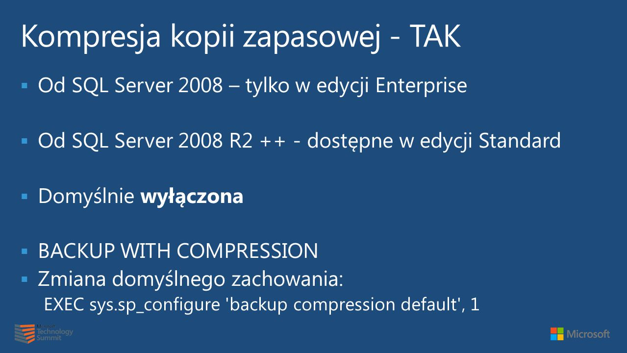 Kompresja kopii zapasowej - TAK