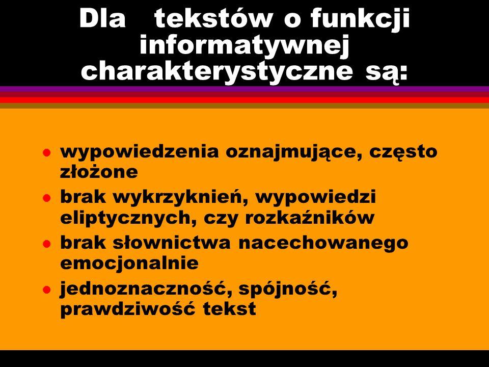 Dla tekstów o funkcji informatywnej charakterystyczne są: