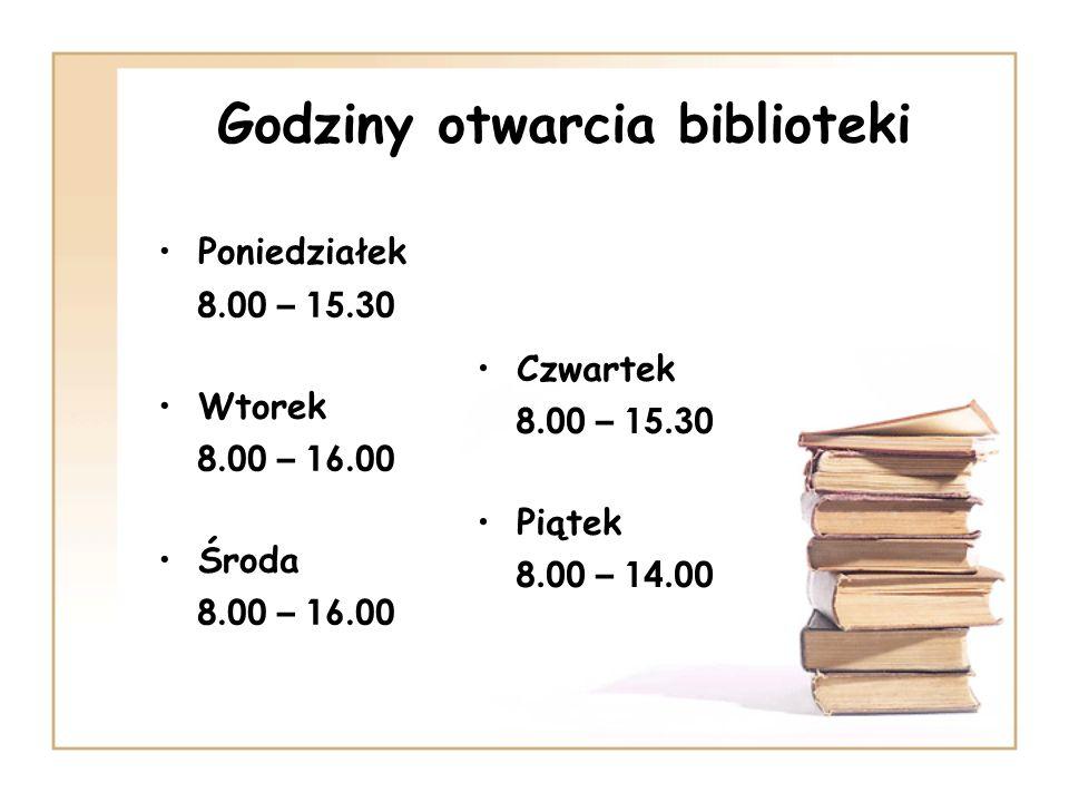 Godziny otwarcia biblioteki