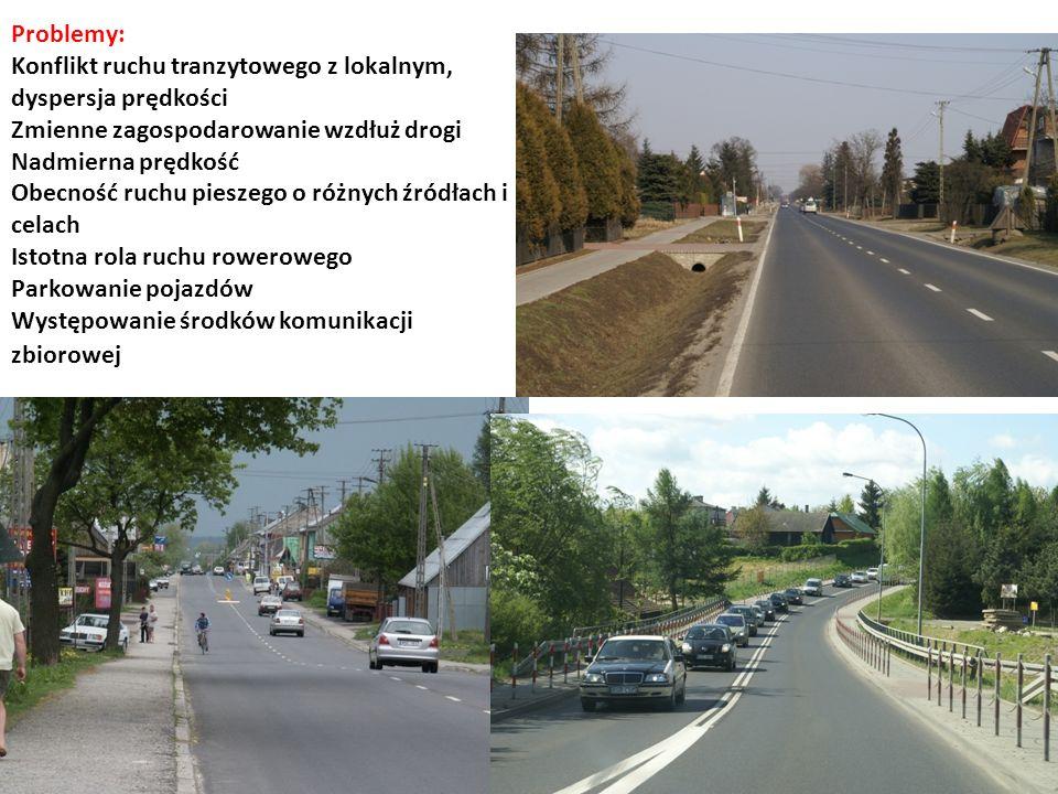 Problemy: Konflikt ruchu tranzytowego z lokalnym, dyspersja prędkości Zmienne zagospodarowanie wzdłuż drogi Nadmierna prędkość Obecność ruchu pieszego o różnych źródłach i celach Istotna rola ruchu rowerowego Parkowanie pojazdów Występowanie środków komunikacji zbiorowej