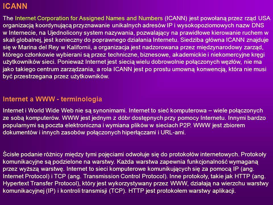 ICANN Internet a WWW - terminologia