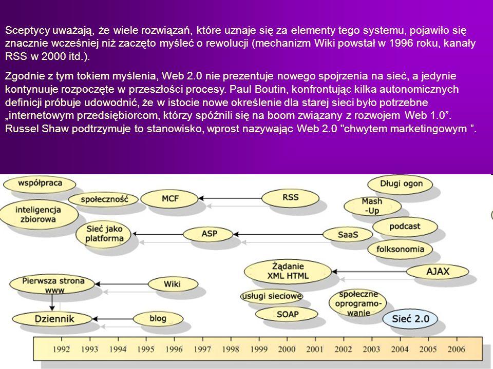 Sceptycy uważają, że wiele rozwiązań, które uznaje się za elementy tego systemu, pojawiło się znacznie wcześniej niż zaczęto myśleć o rewolucji (mechanizm Wiki powstał w 1996 roku, kanały RSS w 2000 itd.).