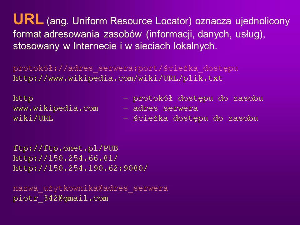 URL (ang. Uniform Resource Locator) oznacza ujednolicony format adresowania zasobów (informacji, danych, usług), stosowany w Internecie i w sieciach lokalnych.